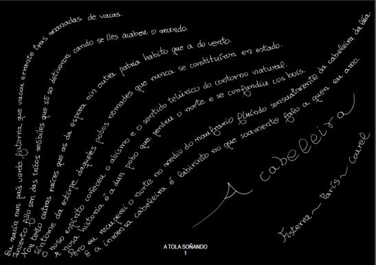 Caligrama de Carmen Blanco con texto de Claudio Rodríguez Fer